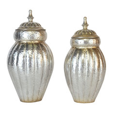 EMDE Silver Metal Jars, Set of 2