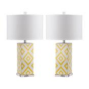 "Safavieh Diamonds 27"" High Table Lamps, Set of 2, Yellow"