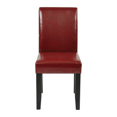 Parsons Chair, Crimson Red Bonded Leather