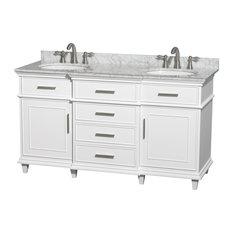 "Berkeley 60"" Double Bathroom Vanity, White, No Mirror"