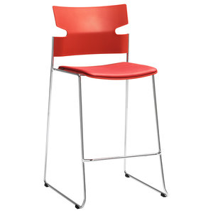 Stack Low Red Stool, Upholstered