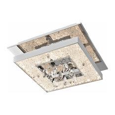 Crushed Ice Cool White LED 1 Square Flush Mount, Chrome