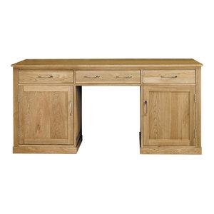 Mobel Contemporary Oak Hidden Office Twin Pedestal Desk