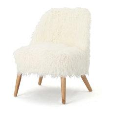 GDF Studio Soho Shaggy Faux Fur Accent Chair White/Natural