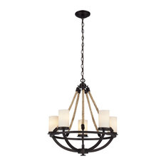 Elk Natural Rope 5 Light Chandelier in Aged Bronze and White Glass