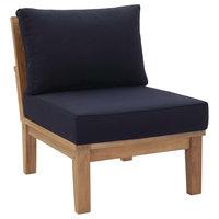 Marina Armless Outdoor Premium Grade A Teak Wood Sofa, Natual Navy
