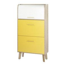 Yellow and Oak Shoe Storage Unit, White