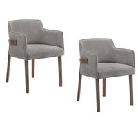 Modrest Jordan Gray and Walnut Dining Chairs, Set of 2, Gray