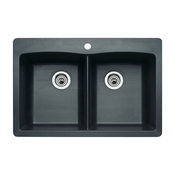 "Blanco 440220 22""x33"" Granite Double Dual-Mount Kitchen Sink, Anthracite"