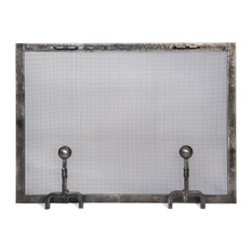 Forged Iron Fireplace Screen with Ball Andiron Feet, Large
