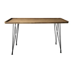 48-inch L Console Table Woven Rattan Top With Wooden Frame Modern Steel Legs
