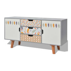 vidaXL Sideboard MDF Gray Storage Side Console Cabinet Hall Table Lowboard