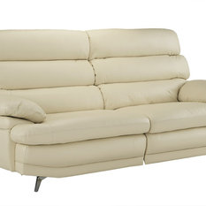 Sofamania Clic Real Leather Fabric Sofa With Low Profile Frame Silver Legs Beige