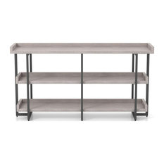 Furniture Of America Lackomb Wood 3-Tier Console Table In Antique Gray