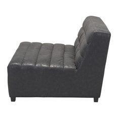 HomeRoots Furniture Loveseat Black Leatherette Wood