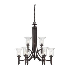 Trudy 9-Light Chandelier English Bronze Seeded Glass