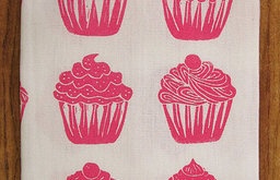Organic Tea Towel, Cupcake All-Over Pattern by Artgoodies