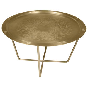 Marhaba Baroque Medium Side Table, Matte Brass