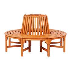vidaXL Circular Tree Bench, Wood