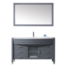 "Ava 55"" Single Bathroom Vanity Cabinet Set, Gray"