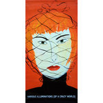 Maira Kalman Woman with Face Net Banner - From the Contemporary Jewish Museum, an authentic, limited edition street banner to display in your home as spectacular wall art. If you don't know the name Maira Kalman, you'll recognize her work. Remember New Yorkistan, the cartoon map of New York's boroughs and neighborhoods? From New Yorkistan covers and illustrated NYTimes blogs to fabric designs for fashion designer Isaac Mizrahi and sleek clocks for M&Co, Kalman's work is ubiquitous. Then there was her not-so-traditional coverage of the 2000 Paris fashion shows with Woman with Face Net, also featured on banners for the Maira Kalman exhibition at the Contemporary Jewish Museum.