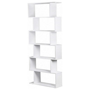 Modern Stylish Bookcase, Particle Board, 6-Compartment, S-Shaped Design, White