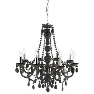 Marie 8-Light Traditional Style Acrylic Chandelier, Charcoal Grey Glass
