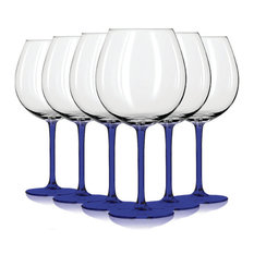 Libbey Cobalt Blue Jumbo Wine Glasses with Colored Accent, 24 oz. Set of 6