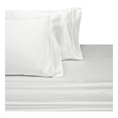 Set of 2 650TC Solid Cotton Blend Pillowcases, White, Standard