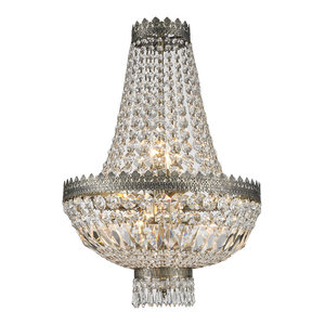 French Empire 6-Light Antique Bronze Finish Clear Crystal Basket Mini Chandelier