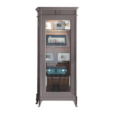 Cabinet With 1 Glass Door, Grey and Champagne, Opening on Left
