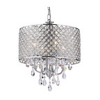 Marya 4-Light Chrome Round Beaded Drum Chandelier/Hanging Crystals