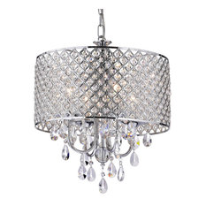 edvivi lighting chrome finish round drum shade 4light crystal chandelier ceiling fixture