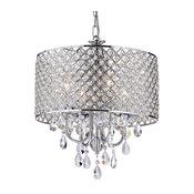 Marya 4-Light Chrome Round Beaded Drum Chandelier Hanging Crystals Glam