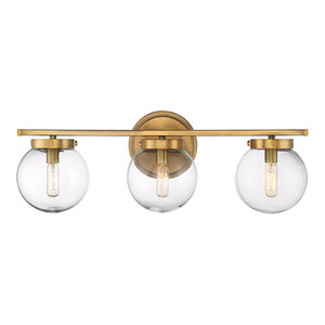 3-Light Bath Bar, Natural Brass