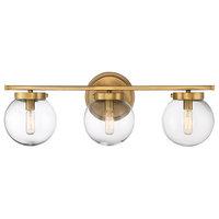 3-Light Bath Bar, Natural Brass