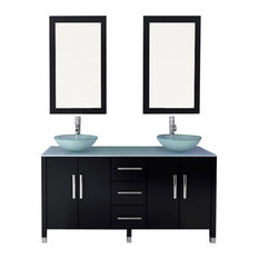 Sirius Double Bathroom Vanity With Glass Top, 59""
