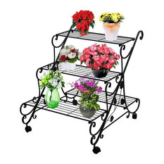 Plant Flower Stand Rack Display With Wheels, Large Metal Plant Flower Shelf