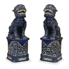 China Furniture And Arts   Blue And White Porcelain Foo Dogs, Set Of 2