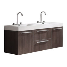 Fresca Opulento Gray Oak Double Sink Bathroom Cabinet With Integrated Sinks