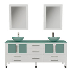 71-inch Solid Wood & Frosted Glass Double Vessel Sink Vanity BN Faucet