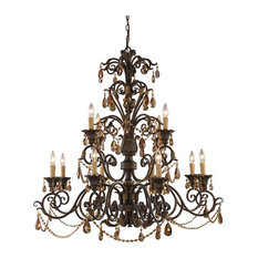 Rochelle 12-Light Chandelier With Amber Crystal