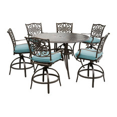 """Traditions 7-Piece High-Dining Set With 56"""" Cast-top Table, Blue"""
