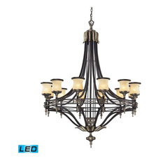 12-Light Chandelier, Antique Bronze and Dark Umber and Marblized Amber Glass