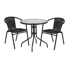 Skovde 3-Piece Table Set Round 28'' Glass With 2 Black Rattan Stack Chairs