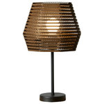 LAMPARASDECARTON.COM - Toxa Table Lamp - Made from stacked strips of hexagonal lacquered cardboard, the geometric form of the Toxa Table Lamp is a wonderful example of innovative design. Allowing a soft light to diffuse through the corrugated card, it sets a relaxed mood suitable for a lounge or bedroom. Specialising in sustainable eco-designs, Spanish light fitting design company Lámparas de Cartón uses biodegradable materials and water-based varnish to create their hand-assembled lampshades.