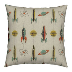 Rocket Space Retro Planet Spaceship Mid Throw Pillow Cover Velvet