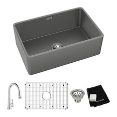 """SWUF28179MGFC Elkay Fireclay 30"""" Farmhouse Sink Kit with Faucet, Gray"""