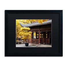 """Philippe Hugonnard 'Golden Trees' Art, Black Frame, Black Matte, 20""""x16"""""""