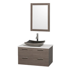 "Wyndham Collection 36"" Amare Gray Oak Vanity Set With White Man-Made Stone Top"